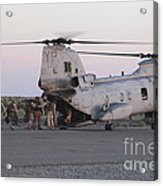 U.s. Marines Board A Ch-46 Sea Knight Acrylic Print by Stocktrek Images