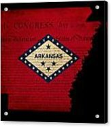 Usa American Arkansas State Map Outline With Grunge Effect Flag  Acrylic Print