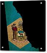 Usa American Delaware State Map Outline With Grunge Effect Flag  Acrylic Print