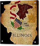 Usa American Illinois State Map Outline With Grunge Effect Flag  Acrylic Print by Matthew Gibson