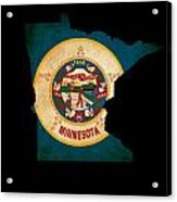 Usa American Minnesota State Map Outline With Grunge Effect Flag Acrylic Print