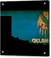 Usa American Oklahoma State Map Outline With Grunge Effect Flag Acrylic Print