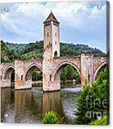 Valentre Bridge In Cahors France Acrylic Print by Elena Elisseeva