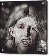 Vampire Woman Holding Flower. Horror Valentine Acrylic Print