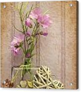 Van Gogh Style Digital Painting Beautiful Flower In Vase With Heart Still Life Love Concept Acrylic Print