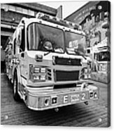 Vancouver Fire Rescue Services Truck Engine Outside Hall 2 In Downtown Eastside Bc Canada Acrylic Print by Joe Fox