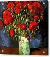 Vase With Red Poppies Acrylic Print