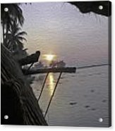 View Of Sunrise From The Window Of A Houseboat Acrylic Print