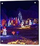 Village In Christmas Lights Panoramic View Acrylic Print