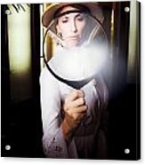 Vintage Archaeologist With Large Magnifying Glass Acrylic Print