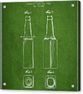 Vintage Beer Bottle Patent Drawing From 1934 - Green Acrylic Print