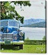 Vintage Blue Caddy At Lake George New York Acrylic Print