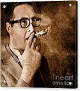 Vintage Business Man Smoking Money In Success Acrylic Print