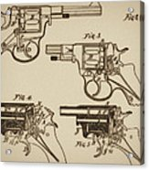 Vintage Colt Revolver Drawing  Acrylic Print