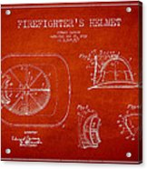 Vintage Firefighter Helmet Patent Drawing From 1932 Acrylic Print