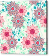 Vintage Flower Pattern Print For Acrylic Print