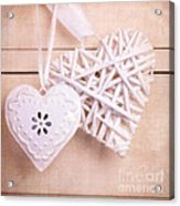 Vintage Hearts With Texture Acrylic Print by Jane Rix