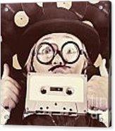 Vintage Music Woman Giving Thumb Up To Retro Songs Acrylic Print