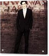Vintage Salesman Standing In Front Of Brick Wall Acrylic Print