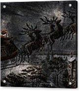 Vintage Santa Stormy Midnight Ride Reindeer Sleigh Acrylic Print