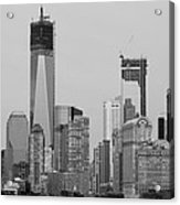 1 W T  C  And Lower Manhatten In Black And White Acrylic Print
