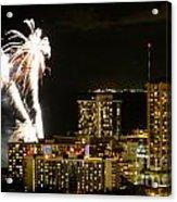 Waikiki Fireworks Acrylic Print