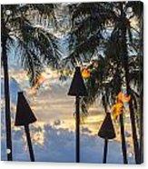 Waikiki Sunset Torches Acrylic Print