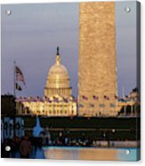 Washington D.c. - Us Flags With Cropped Acrylic Print