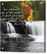 Waterfall With Scripture Acrylic Print