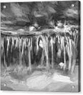 Waterfalls Childs National Park Painted Bw   Acrylic Print