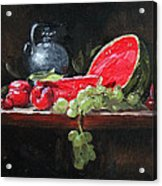 Watermelon And Plums Acrylic Print by Ellen Howell