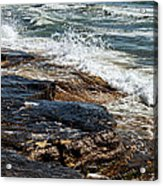 Waves Break On The Rocks. Acrylic Print by Alexandr  Malyshev