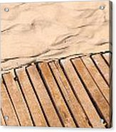 Weathered Wooden Boardwalk On Sand Acrylic Print