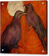 When Crow Made The Moon Acrylic Print by Johanna Elik
