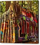 Whistler Train Derailment Box Car Acrylic Print