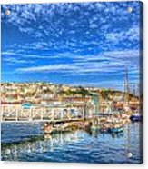 White Jetty Walkway Leading To Boats And Yachts In A Marina With Blue Sky And Reflections Acrylic Print