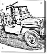 Willys World War Two Army Jeep Illustration Acrylic Print
