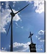 Wind Turbine And Cross Acrylic Print by Bernard Jaubert