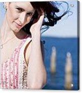Windy Hair Woman Acrylic Print