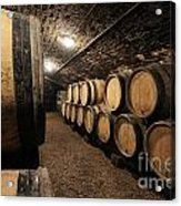 Wine Barrels In A Cellar. Cote D'or. Burgundy. France. Europe Acrylic Print by Bernard Jaubert