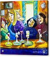 Wine Buddies The Last Call Acrylic Print by Angela Nuttle