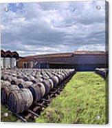 Winery Wine Barrels Outside Clouds Panorama Acrylic Print