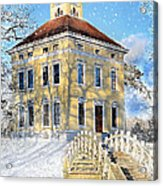 Winter Landscape With A Bridge Over The River And Interesting Home Acrylic Print by Gynt