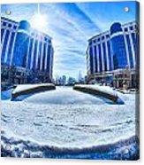 Winter Street Scenes Around Piedmont Town Centre Charlotte Nc Acrylic Print