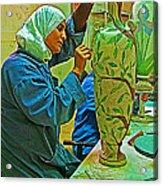 Woman Artisan At Mosaic School In Madaba In Jordan  Acrylic Print