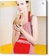 Woman Drinking Coconut Milk In Kitchen Acrylic Print