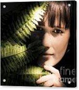 Woman Hiding Behind Fern Leaf Acrylic Print