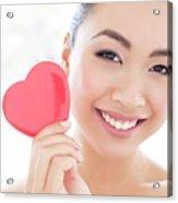 Woman Holding Heart Acrylic Print
