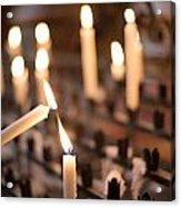 Woman Lighting Prayer Candle Acrylic Print