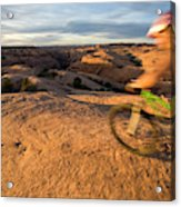 Woman Mountain Biking, Moab, Utah Acrylic Print